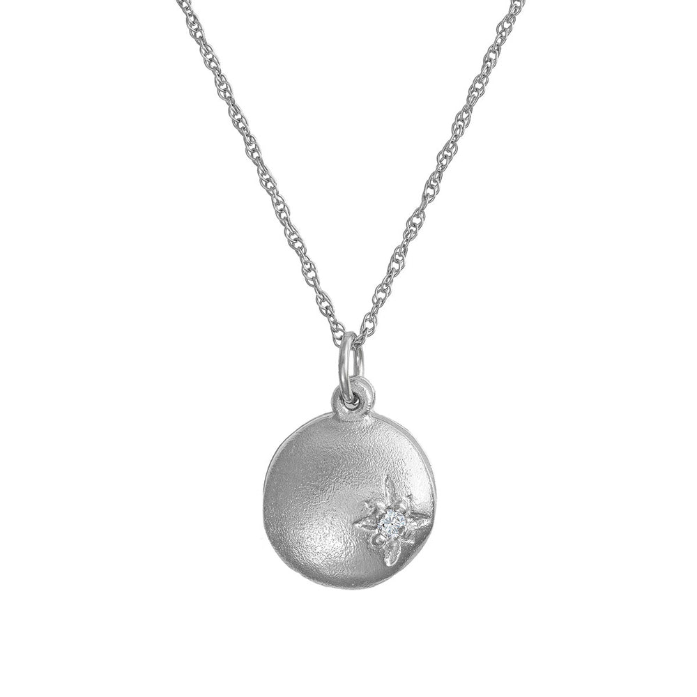Chupi - North Star Locket - Solid White Gold & Diamond Necklace