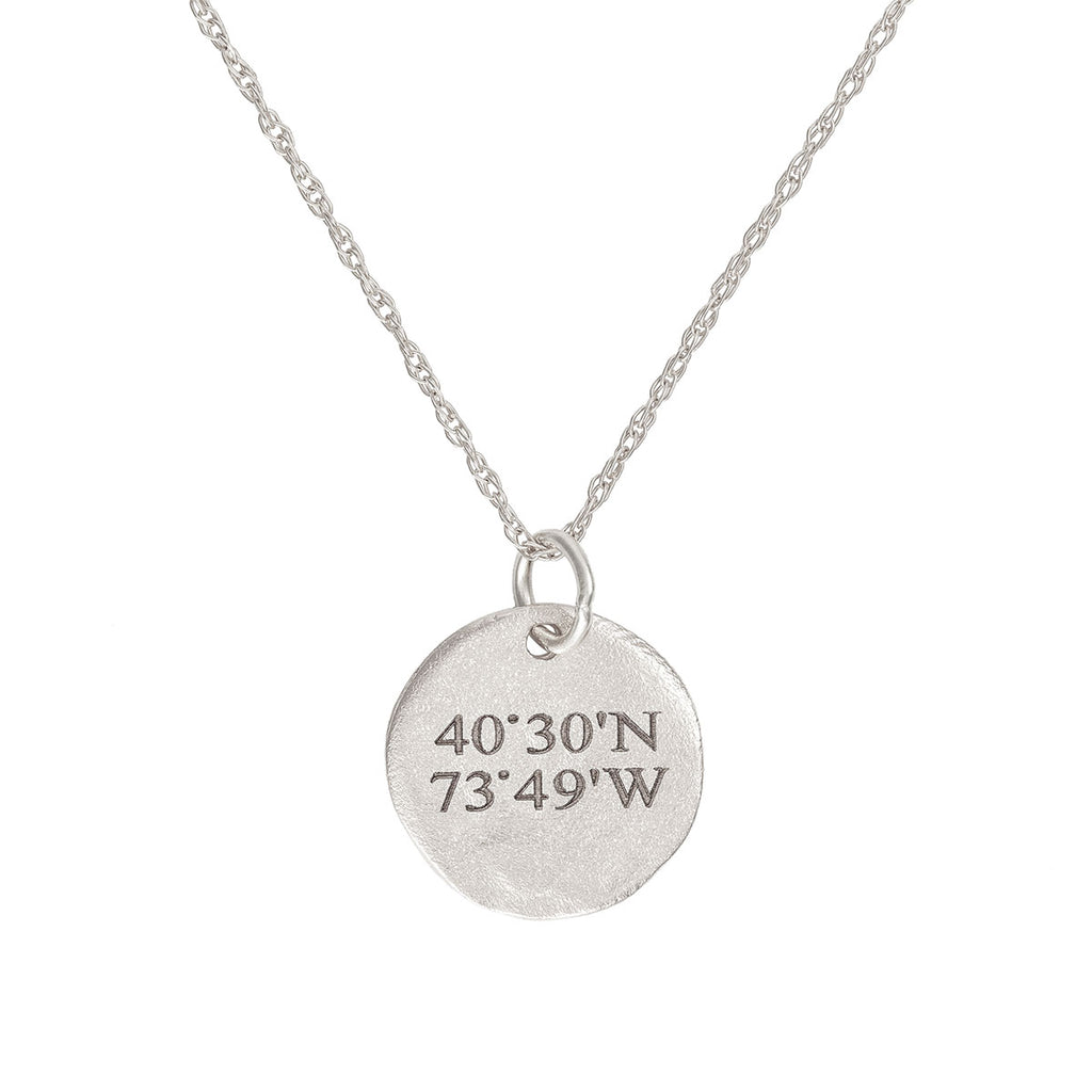 image-Solid White Gold Not All Who Wander Are Lost Maxi Coordinates Necklace