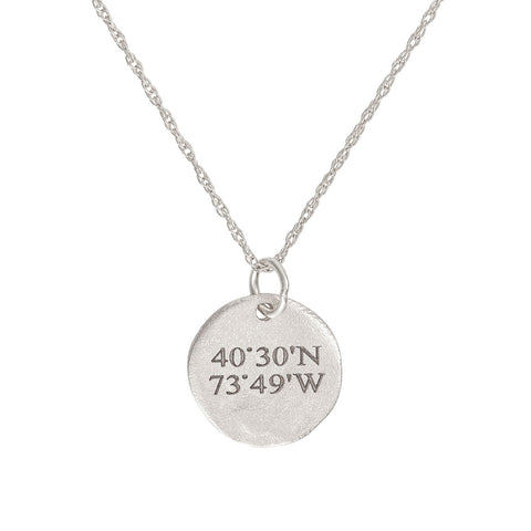 Chupi - Coordinates Maxi Disc Necklace - Solid White Gold - Not All Those Who Wander Are Lost