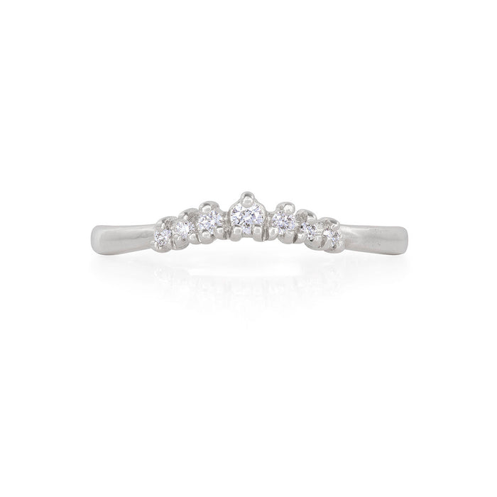 Solid White Gold Crown of Faith - Classic Diamond Polished Band Ring