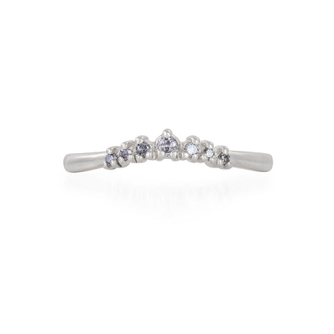 Solid White Gold Crown of Faith - Grey Diamond Polished Band Ring