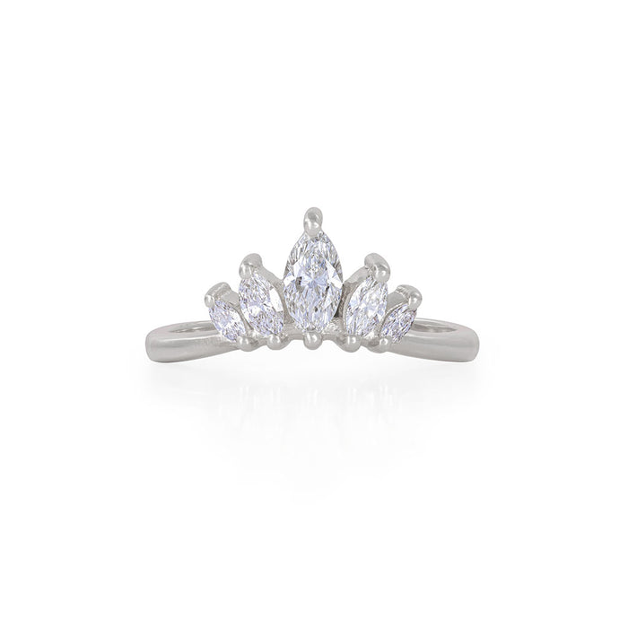 Solid White Gold Crown of Hope Marquise Polished Band Ring - Classic Diamond