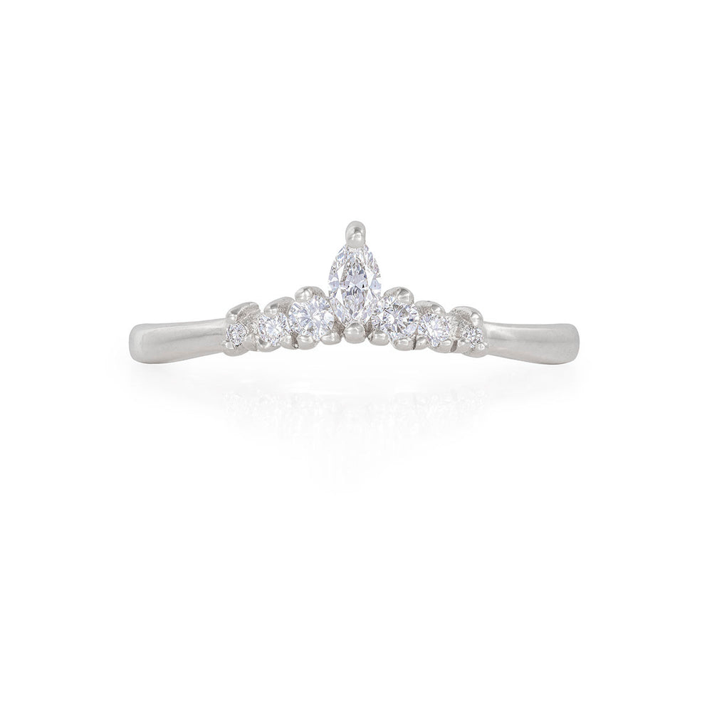 Solid White Gold Crown of Luck Marquise - Classic Diamond Polished Band Ring
