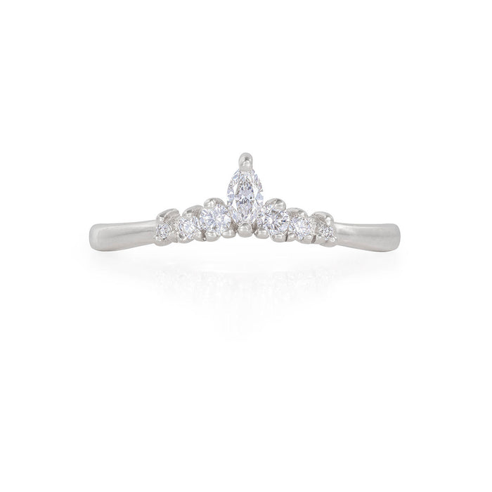Crown of Luck - 14k Polished White Gold Marquise Diamond Ring