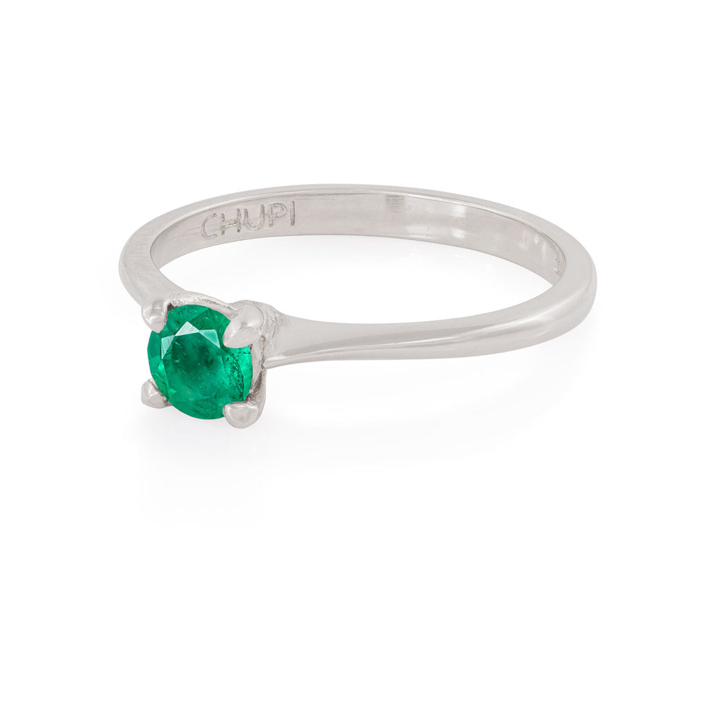 Chupi - Emerald Engagement Ring - Solid White Gold Polished Band - Darling in the Wild