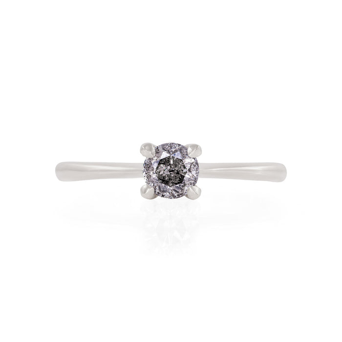 Darling in the Wild - 14k Polished White Gold Grey Diamond Ring
