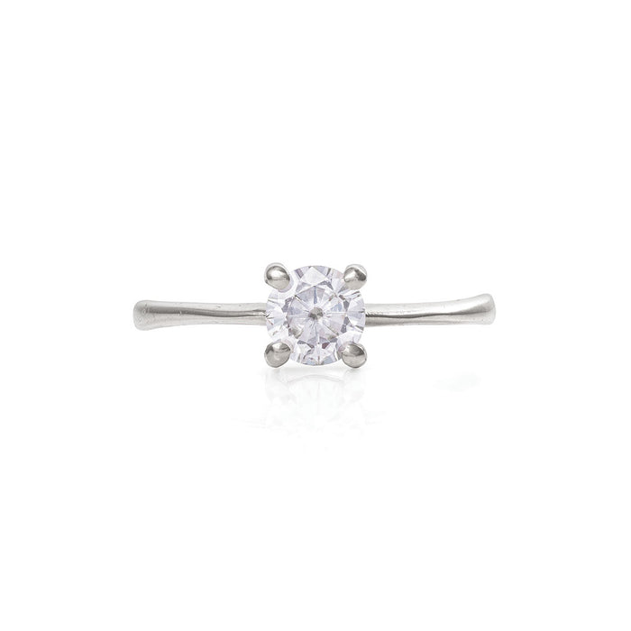 Solid White Gold Darling in the Wild - Moissanite Polished Band Ring