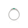 Solid White Gold Evil Eye Marquise - Emerald & Classic Diamond Polished Band Ring