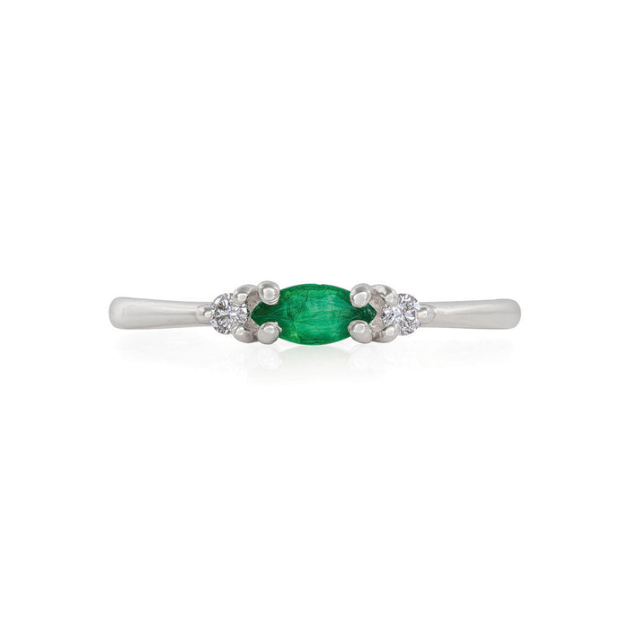 Evil Eye - 14k Polished White Gold Marquise Emerald & Diamond Ring