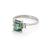 Solid White Gold Hero - Green Tourmaline & Classic Diamond Polished Band Ring