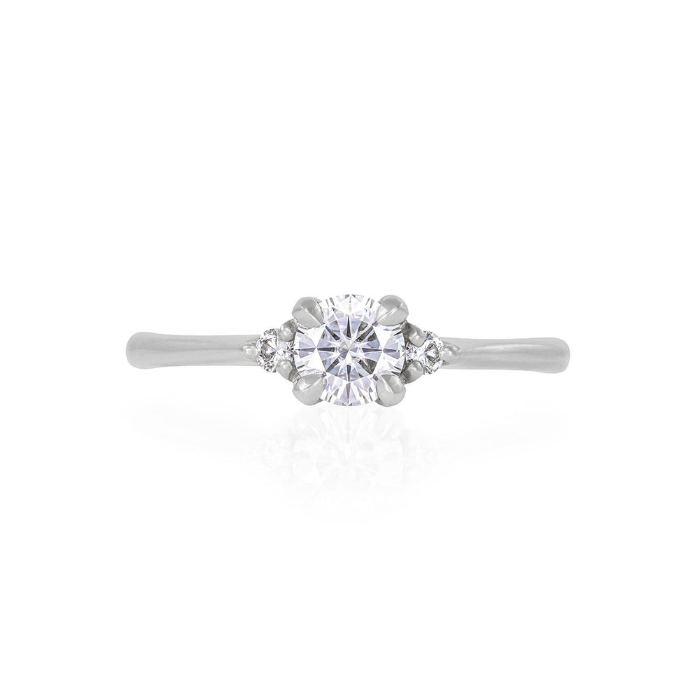 Solid White Gold Love is All - Classic Diamond Polished Band Ring