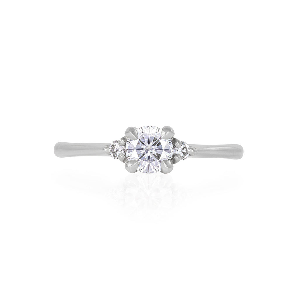 image-Solid White Gold Love is All - Classic Diamond Polished Band Ring