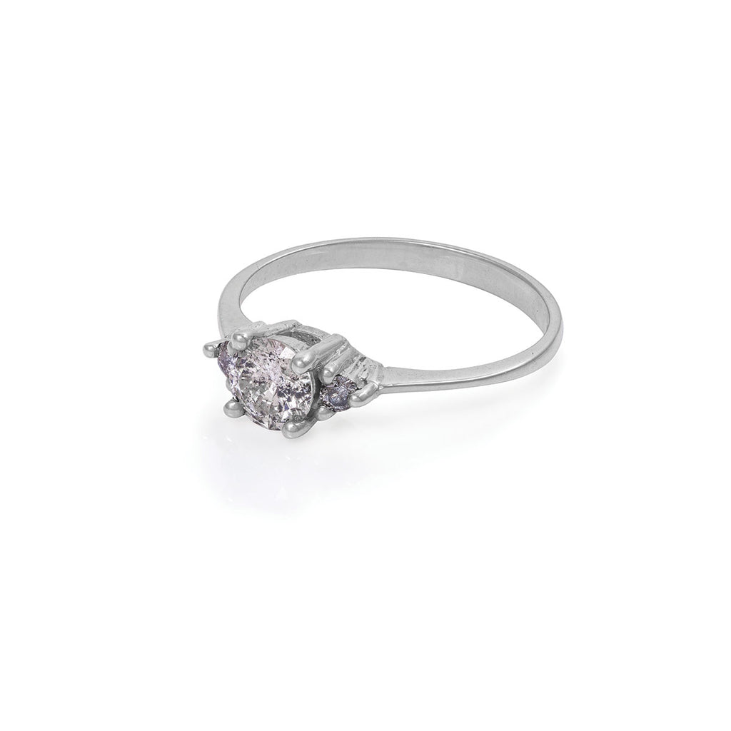 image-Solid White Gold Love is All - Grey Diamond Polished Band Ring