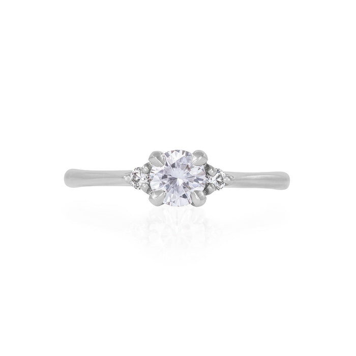 Solid White Gold Love is All - Moissanite & Classic Diamond Polished Band Ring
