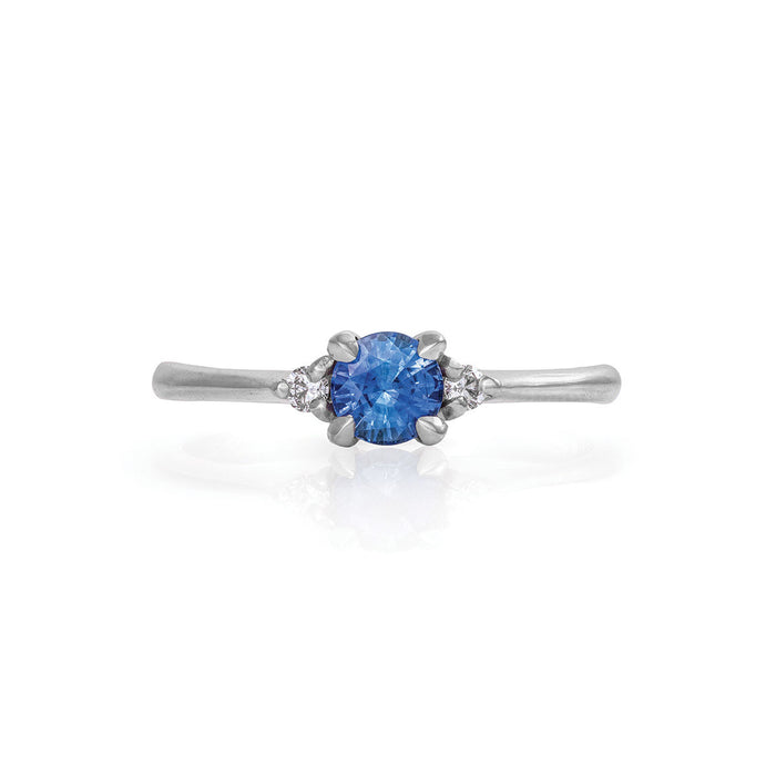 Solid White Gold Love Is All - Blue Sapphire & Diamond Polished Band Ring