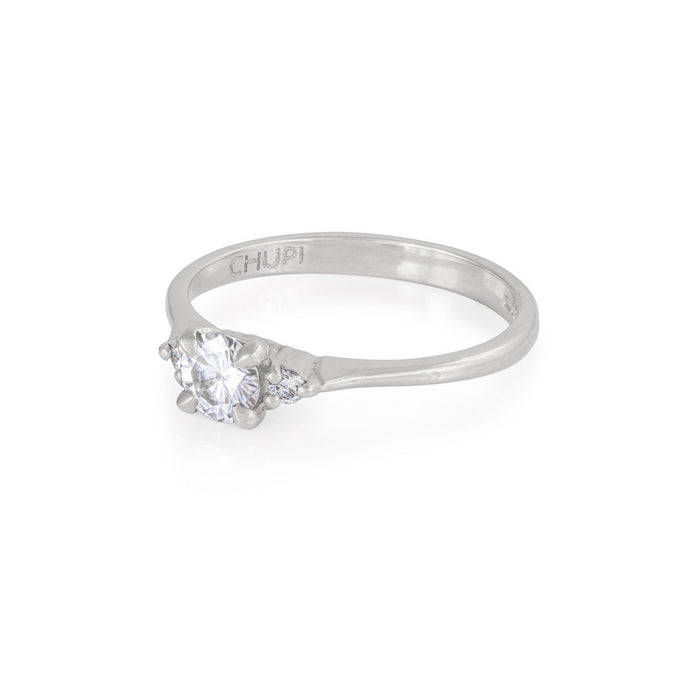 On-body shot of Solid White Gold Love is All - Moissanite & Classic Diamond Polished Band Ring