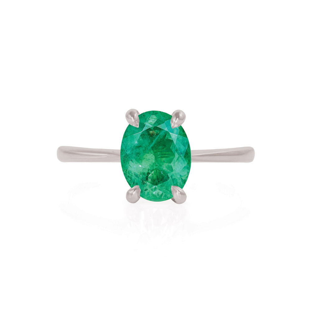 Solid White Gold Moonlight - Emerald Polished Band Ring