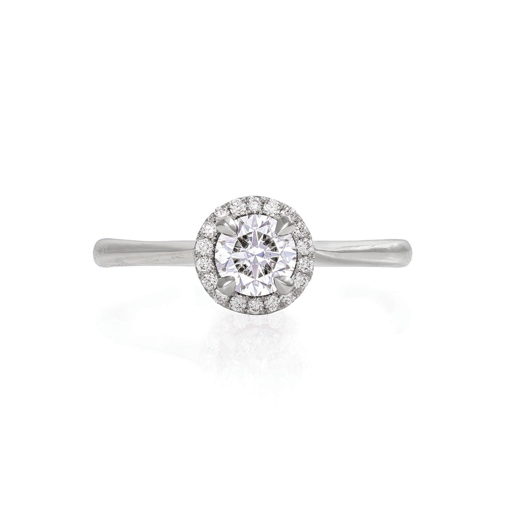 Solid White Gold Queen of Hearts - Half Carat Classic Diamond Polished Band Ring