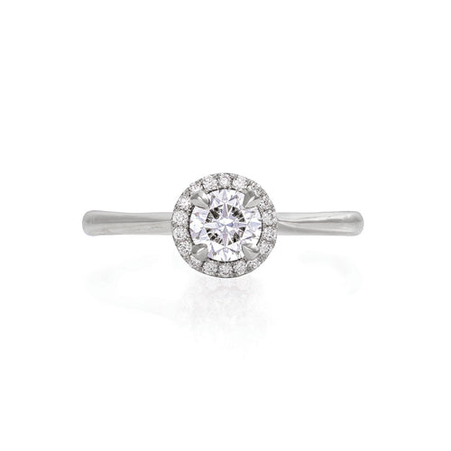 image of Solid White Gold Queen of Hearts - Half Carat Classic Diamond Polished Band Ring