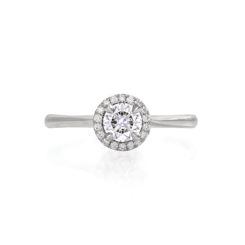 image of Solid White Gold Queen of Hearts - Half Carat Lab Grown Diamond Polished Band Ring