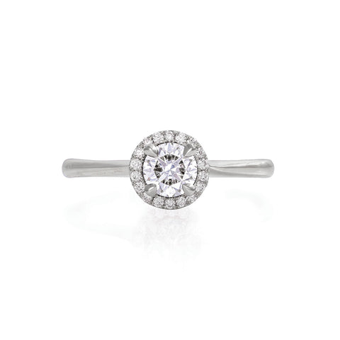 Solid White Gold Queen of Hearts - Half Carat Lab Grown Diamond Polished Band Ring