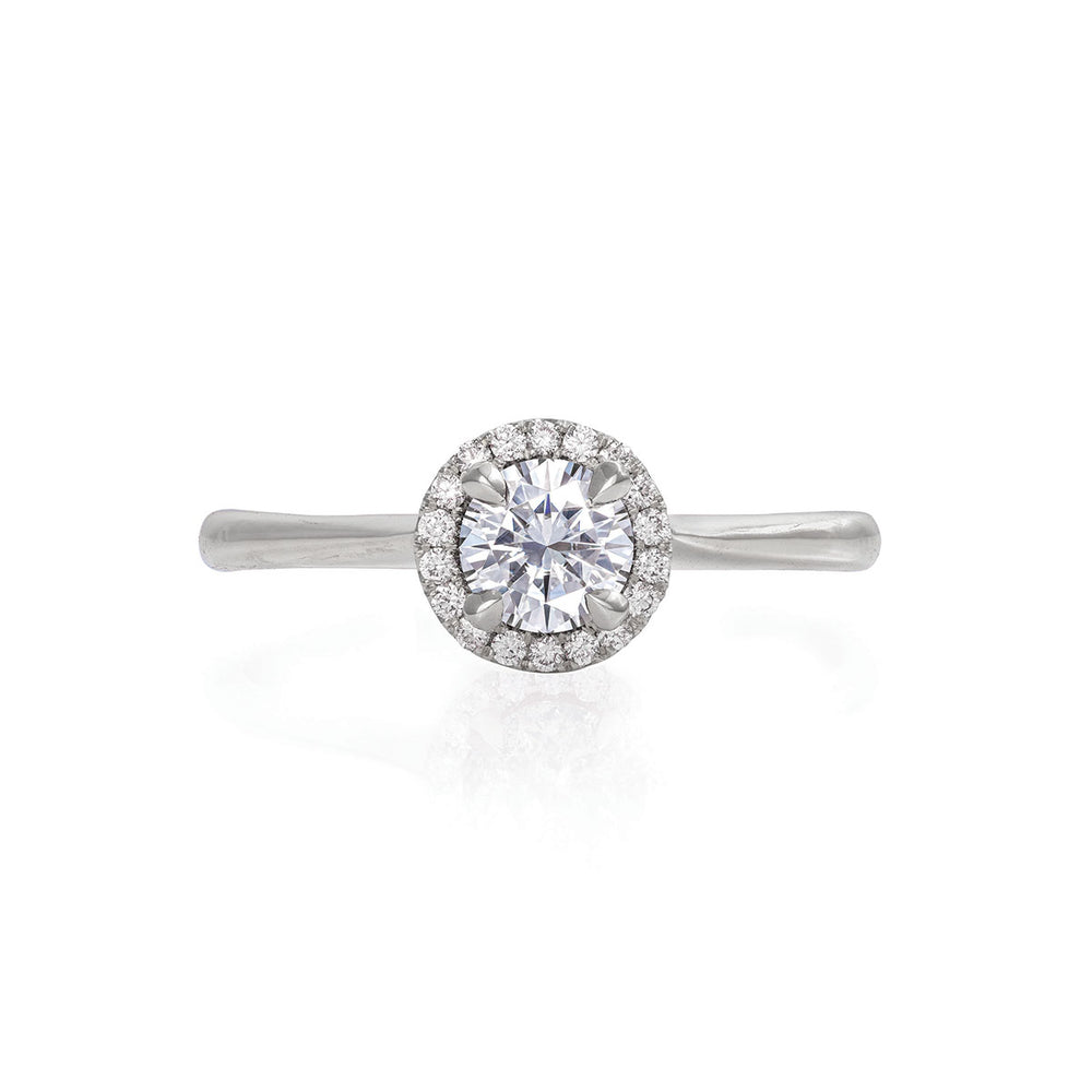 Solid White Gold Queen of Hearts - 5mm Moissanite Halo Polished Band Ring