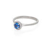 Solid White Gold Queen of Hearts - Half Carat Blue Sapphire Polished Band Ring