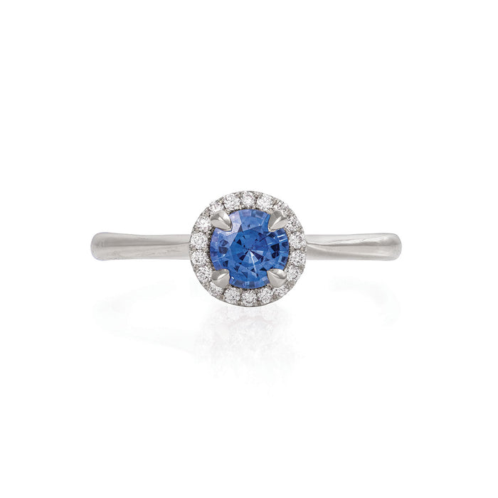 Queen of Hearts - 14k Polished White Gold 0.5ct Blue Sapphire Ring