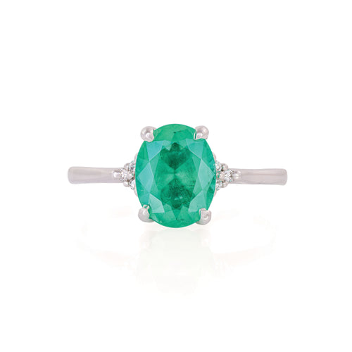 image of Solid White Gold Starlight - Emerald Polished Band Ring