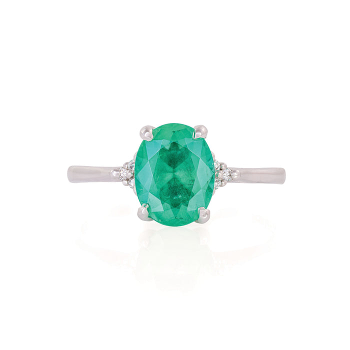Starlight - 14k Polished White Gold Emerald Ring