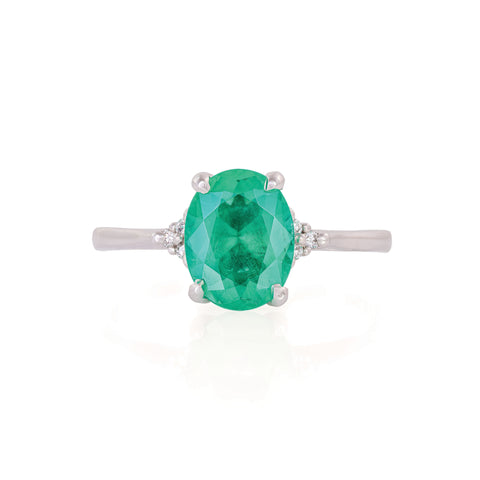 Solid White Gold Starlight - Emerald Polished Band Ring