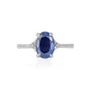 Solid White Gold Starlight - Blue Sapphire Polished Band Ring