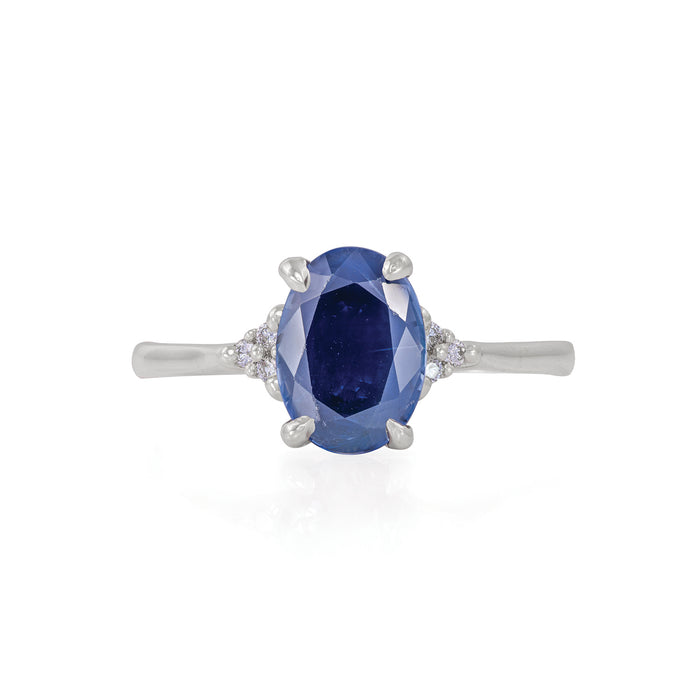 Starlight - 14k Polished White Gold Blue Sapphire Ring