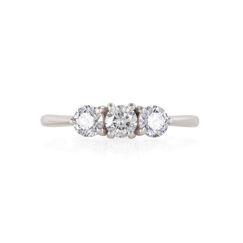 image of Solid White Gold Stars in the Sky Eternity - Classic 3 Diamond Polished Band Ring