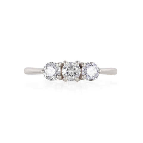 Solid White Gold Stars in the Sky Eternity - Classic 3 Diamond Polished Band Ring
