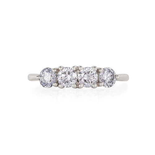 image of Solid White Gold Stars in the Sky Eternity - Classic 4 Diamond Polished Band Ring