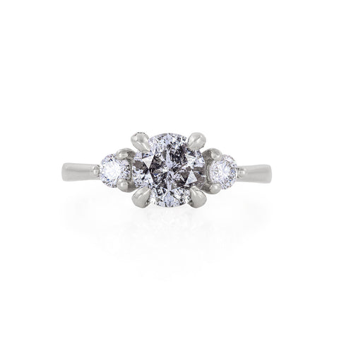 Solid White Gold You Me & Magic - One Carat Grey Diamond & Classic Diamond Polished Band Ring
