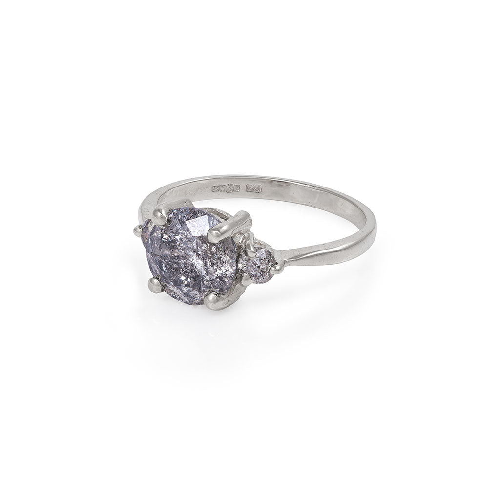 image-Solid White Gold You Me & Magic - Two Carat Grey Diamond Polished Band Ring
