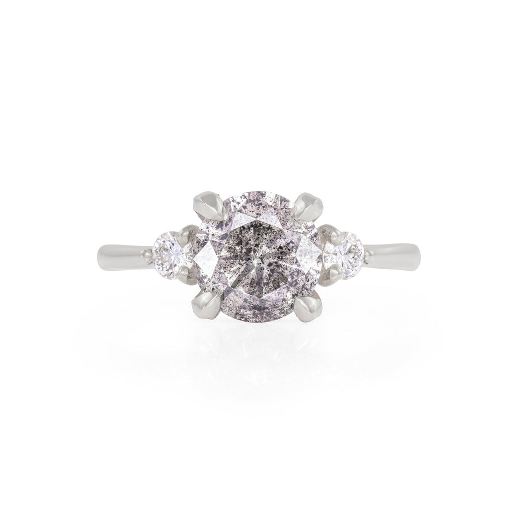 image-Solid White Gold You Me & Magic - Two Carat Grey Diamond & Classic Diamond Polished Band Ring