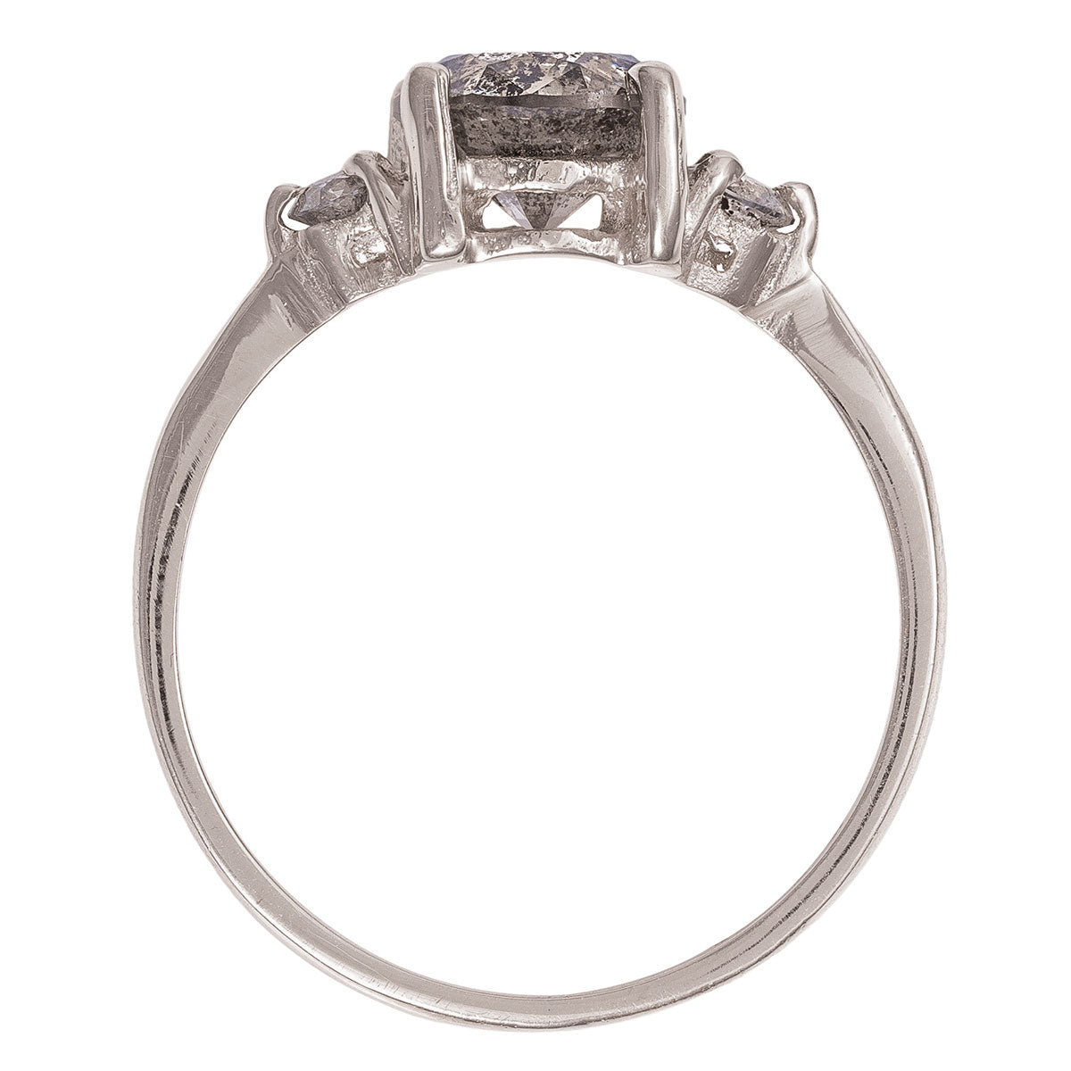 Chupi - Grey Diamond Engagement Ring - Solid White Gold One Carat - Polished Band You Me & Magic