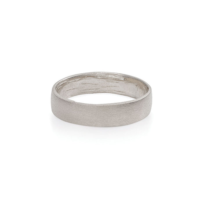 Solid White Gold Hawthorn Bark Polished Ring Wide Band