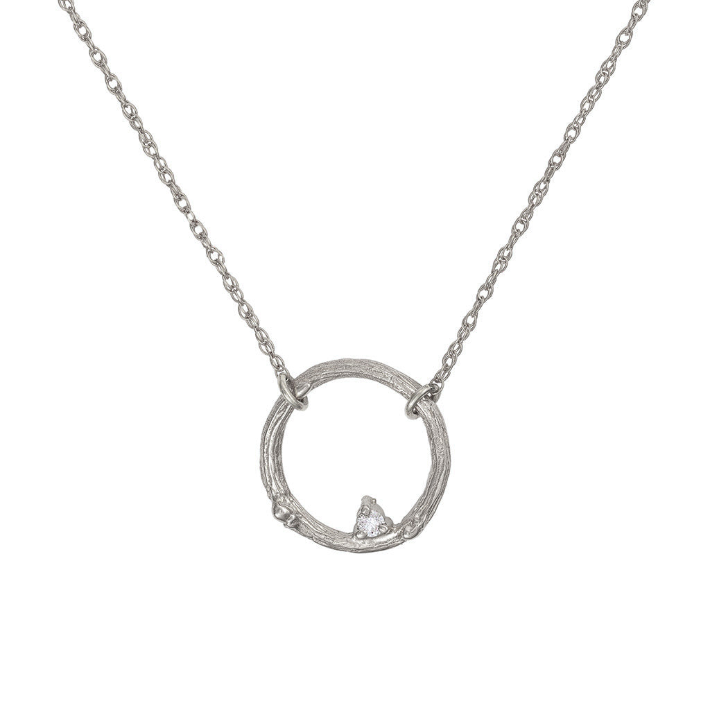 image-Solid White Gold Promise Me Necklace Classic Diamond