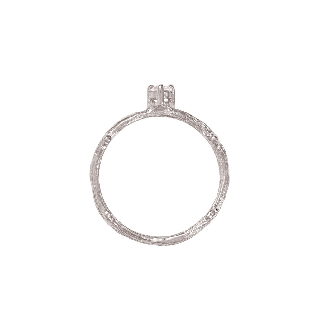 image-Solid White Gold Lucky Star Ring Diamond