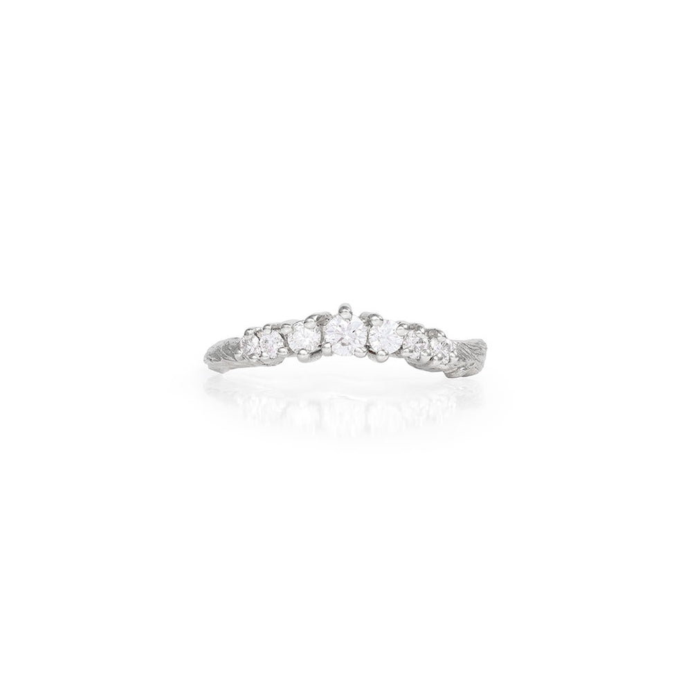 Chupi - Classic Diamond Wedding Band - Solid White Gold Crown of Joy Engagement Ring