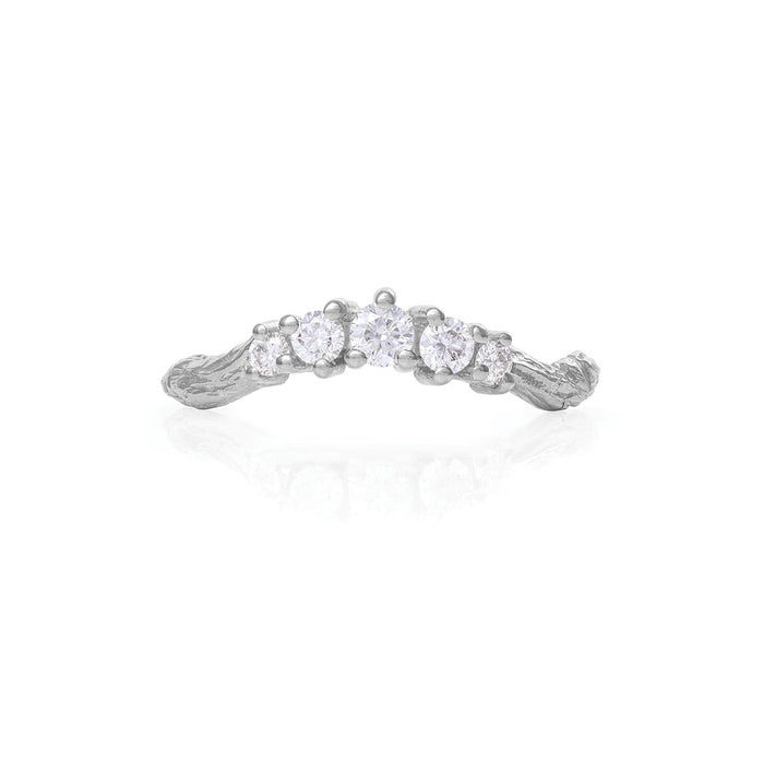 Chupi - Classic Diamond Wedding Band - Solid White Gold Crown of Love Engagement Ring