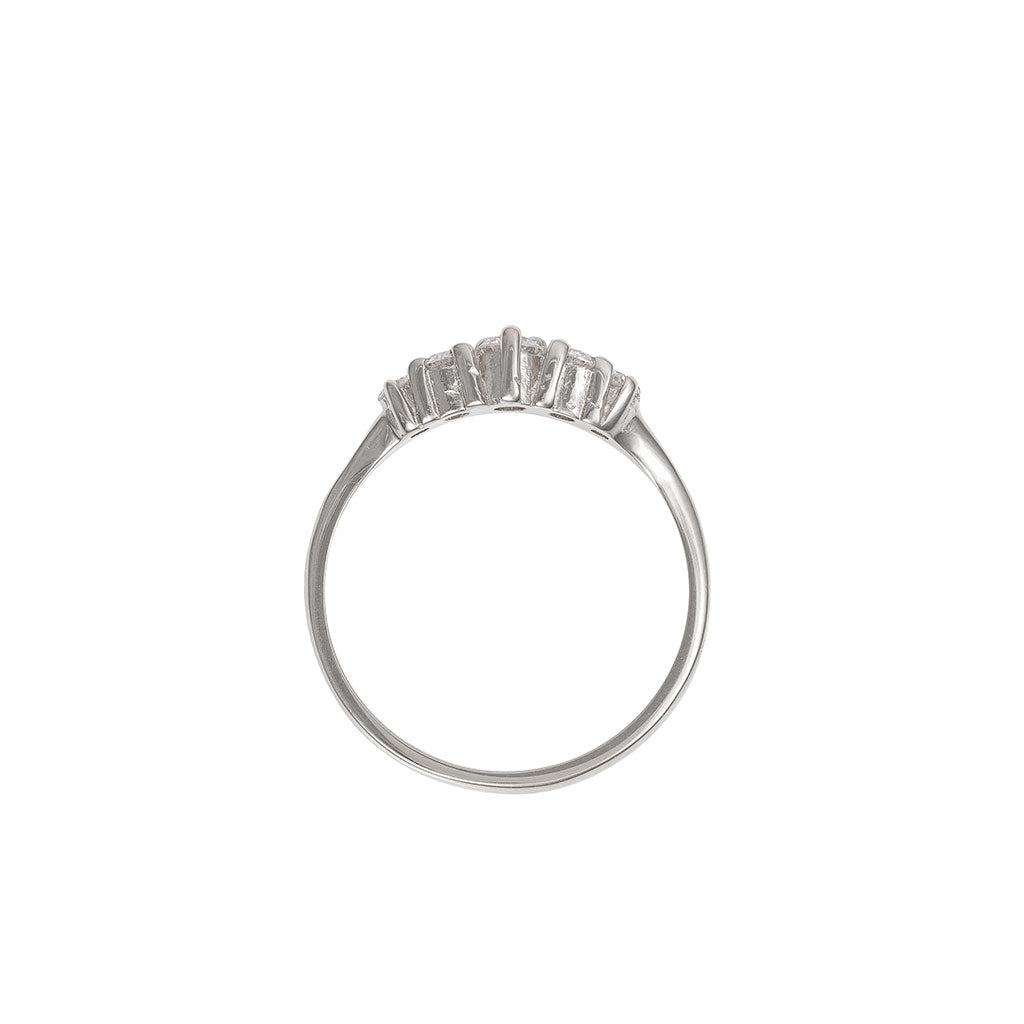 image-Solid White Gold Crown of Love Polished Band Ring Classic Diamond