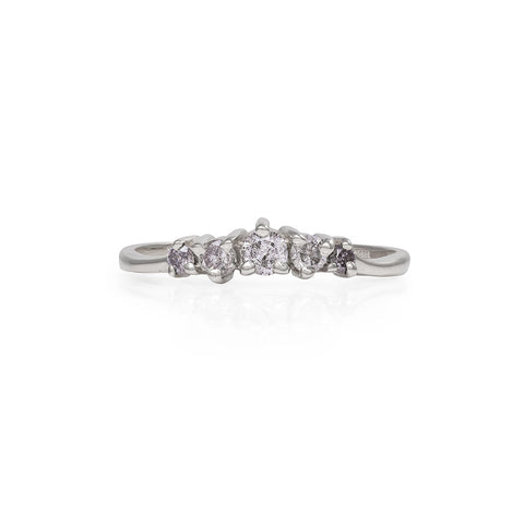 Chupi - Grey Diamond Wedding Band - Solid White Gold Crown of Love Polished Band Engagement Ring