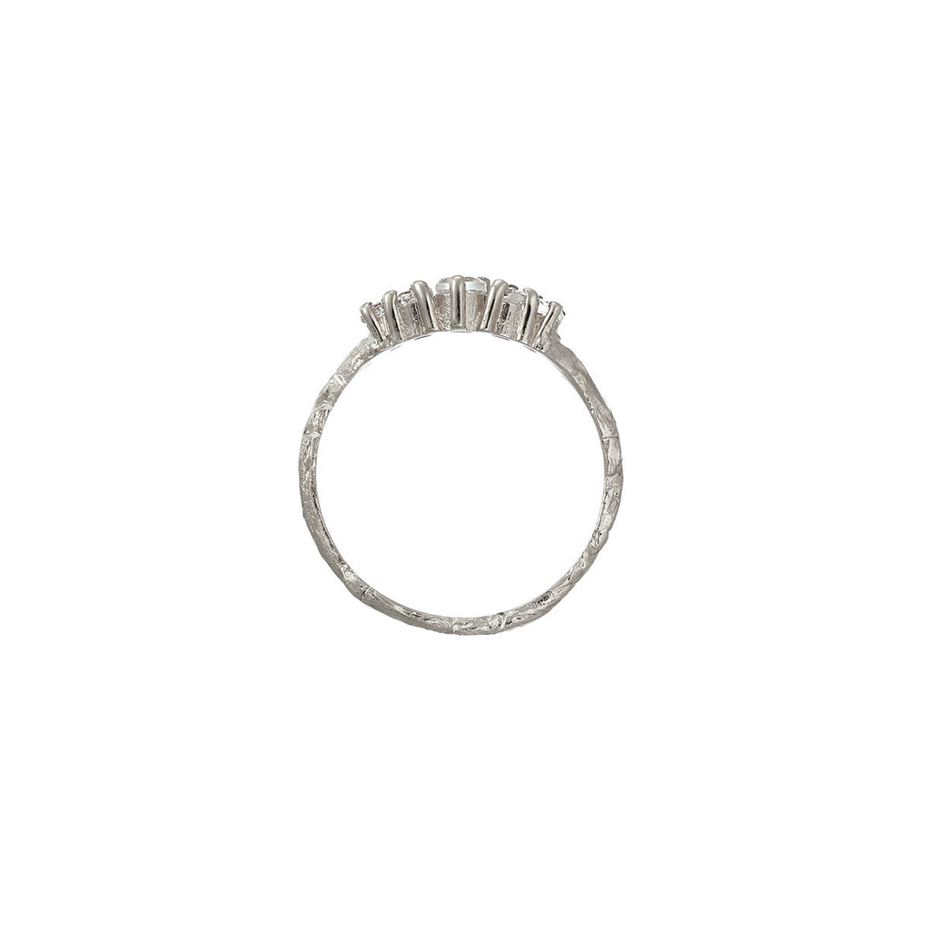 Chupi - Grey Diamond Wedding Band - Solid White Gold Crown of Love Ring