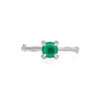 Darling in the Wild - 14k White Gold Twig Band Emerald Ring