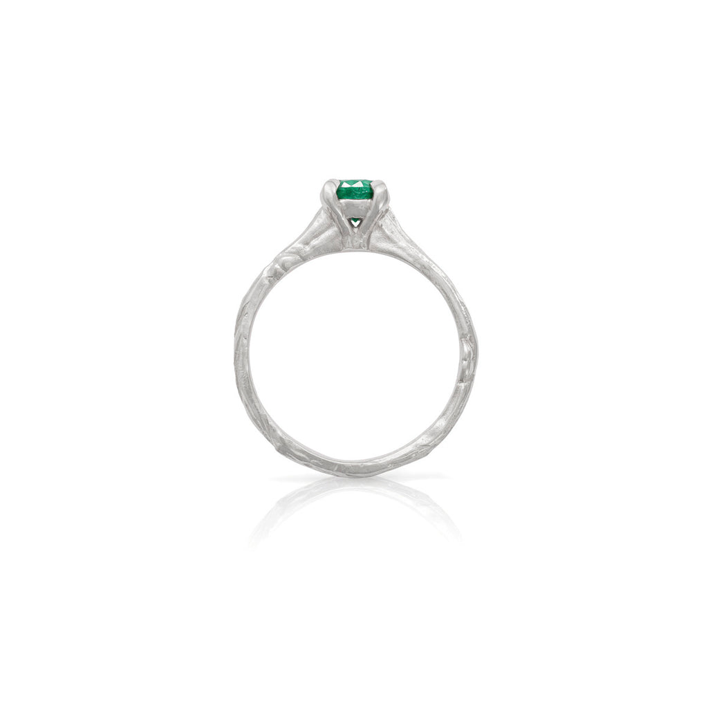 Chupi - Emerald Engagement Ring - Solid White Gold Twig Band - Darling in the Wild